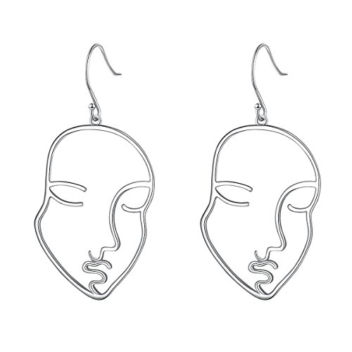 S925 Sterling Silver Face Abstract Earrings for Women Girl Halloween Jewelry