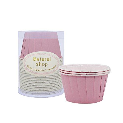 Beiersi 24 pcs Papier Gâteau Tasse Sulfurise Muffin Gâteau Moules à Cupcakes Décoration (Rose)