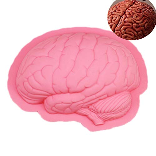 3D Large Zombie Brain Silicone Cake Mould Chocolate Soap Molds Halloween Kitchen Accessories Baking