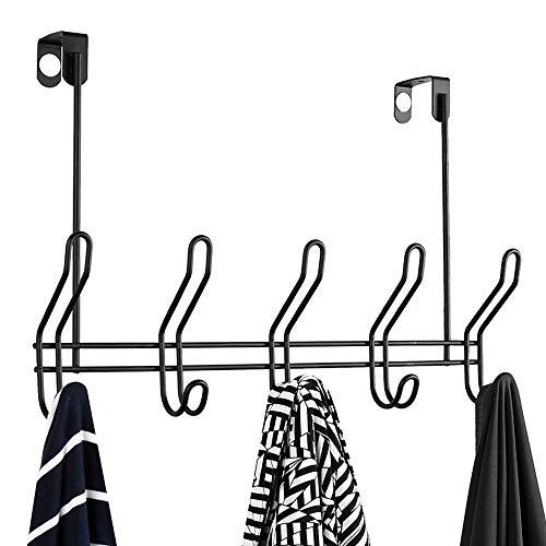 Over The Door 5 Hook Rack - Clothes, Coat, Hat, Belt, Towels - Stylish Over Door Hanger for Home or Office Use (Pack of 1)