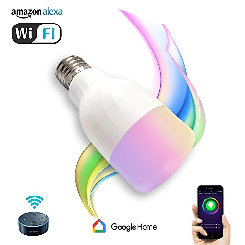 Price comparison product image Smart Led Light Bulb, Wifi Dimmable Multicolored LED Bulbs Works with Amazon Alexa and Google Home, RGB Night Light and Soft White 5000K, E26/E27 Screw, Smart Phone Controlled Home Lighting by Cotify