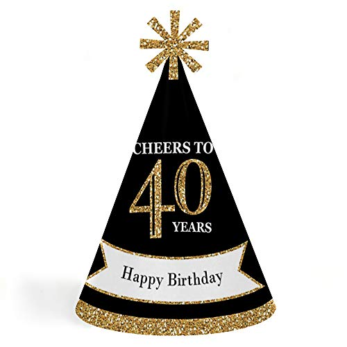 Adults 40th Birthday - Gold - Cone Birthday Party Hats for Kids and Adults - Set of 8 (Standard Size)