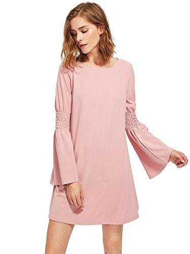 Pink Long Sleeve Dress - Milumia Women's Long Bell Sleeve Casual Swing Tunic Dress Large Pink