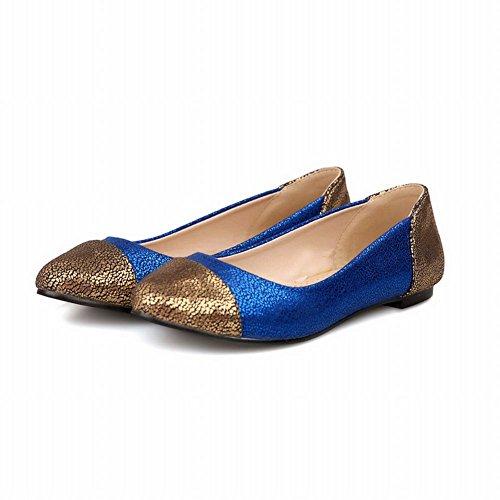 Carol Schoenen Sexy Dames Glanzend Assorti Kleuren Mode Manchet Loafers Flats Schoenen Blauw