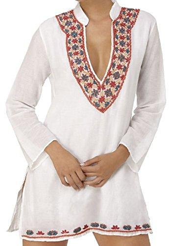 top Jayayamala d'hiver top longues blanc top manches top haut tunique haut long parti Femmes coton blouse blanc brode top en du aArWna8q