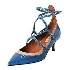 Valentino Women's Blue Ankle Strap Kitten Heels Pumps Shoes