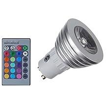 JOYLAND Pack 4pcs GU10 RGB Color Changing LED Light Bulb Lamp with Remote Control 3 Watt AC 85V-265V 16 Multi Color
