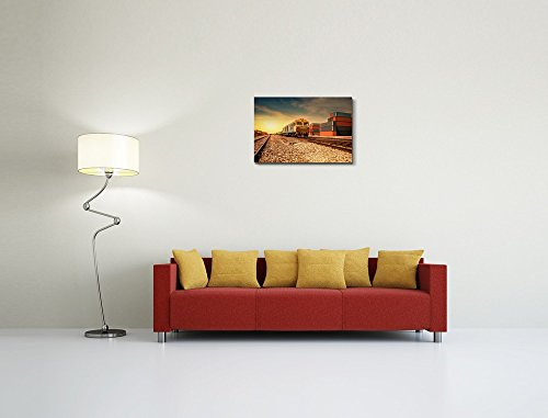 Cargo Train Platform at Sunset with Container Home Deoration Wall Decor ing