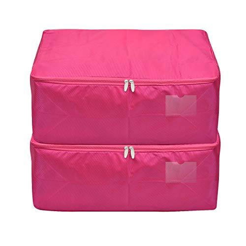 iwill CREATE PRO Rosy Comforter Storage Bag, Dust-Proof, Moth-Proof Organizer Containers for Closet, Pack of 2