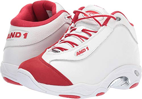 AND1 Men's Tai Chi LX Sneaker, White/Chinese red/Silver, 12 Medium US