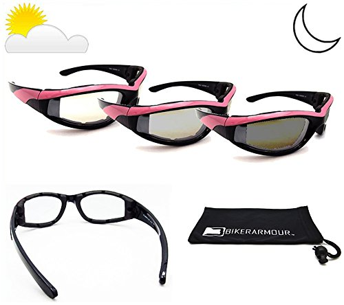 Bikershades Pink Frame Transitional Motorcycle Sunglasses Foam Padded for Women. Photochromic Clear to Smoke Polycarbonate Lens. Free Cleaning Case. Angel/TR/CL