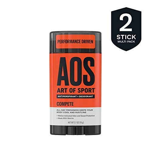 Art of Sport Men's Antiperspirant Deodorant Stick (2-Pack), Compete Scent, Athlete-Ready Formula with Matcha, 2.7 oz