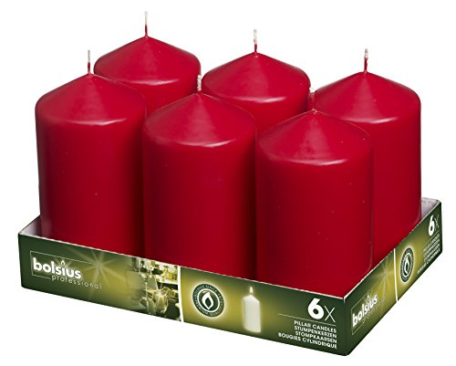 Bolsius 3x6 Set Of 6 Red Pillar Candles Aprox 3x6 inches by Bolsius