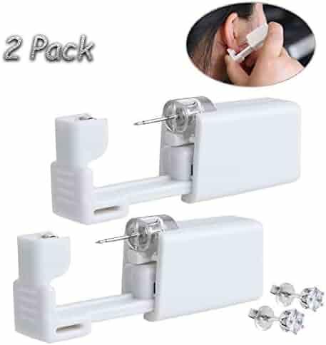 2 Pack Self Ear Piercing Gun Disposable Self Ear Piercing Gun Kit Safety Ear Piercing Gun Kit Tool - Noble White