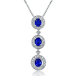 Natural Blue Sapphire Diamond Necklace Pendant