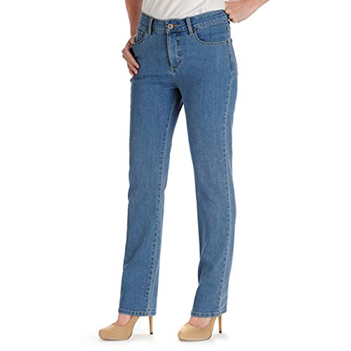 LEE Women's Tall Instantly Slims Classic Relaxed Fit Monroe Straight Leg Jean, Pearl, 18/Tall