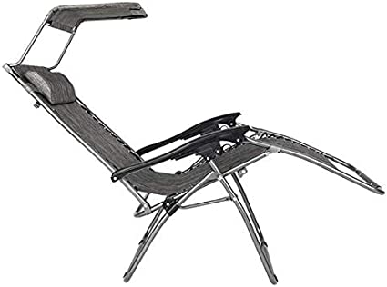 Simonseason Lounge Chairs Durable Chairs Widened Folding Chair Leisure Chair for Pool Side Outdoor Yard Beach Deck Gray Zero Gravity Lounge Patio Chair with Awning Leisure Chair