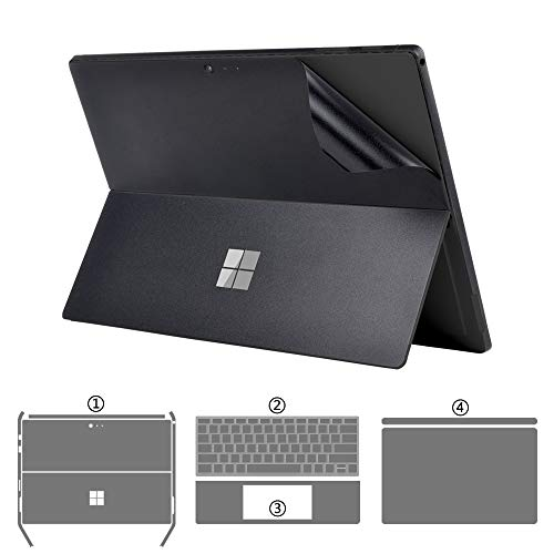 XISICIAO Full Set Protector for Microsoft Surface Pro 6/ Pro5 2017 Released 12.3-Inch Skin Sticker Decals[Body+Edge+Keyboard Cover Two Sides+Palm Rest] (Frosted Black 4-in-1)