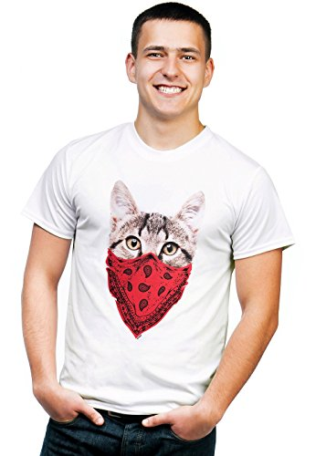 Retreez Funny Gangster Cat with Scarf Face Mask Graphic Printed Unisex Men/Boys/Women T-Shirt Tee - White - X-Large