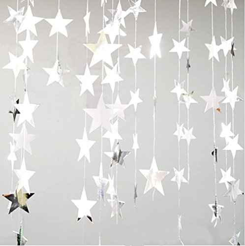 2PCS Sparkling Gold Star Garland for Party Decorations Baby Shower (4 inch in Diameter,13 Feet) (Glitter silver)