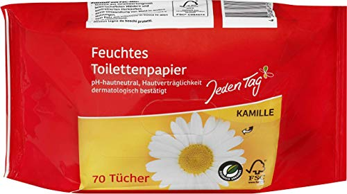 Jeden Tag Vochtig Toiletpapier Kamille, 70 Doekjes, 260 g