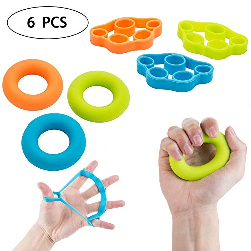 Hand Resistance Exercise Finger Strength Band Rubber Grip Strengthener for Arthritis,Guitar,Climbing and Golf (Pack of 6) by PHY