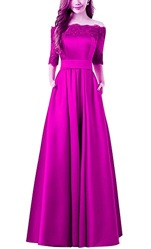 214b0aeead Dannifore 1 2 Sleeves A-Line Satin Bridesmaid Dresses Long Evening Gown  With Applique In Fushcia Size 18W
