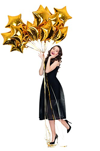 Treasures Gifted Gold Mylar Star Foil Balloons Twinkle Star Shaped Over The Moon Pack of 12 for Baby Shower Birthday School Office Congrats Party Supplies -