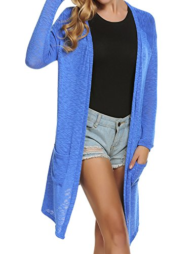 ELESOL Women's Oversized Drapey Open Cardigan Cashmere Sweater with Pocket, Whitr, Small Blue (Easy Long Cardigan Cashmere)