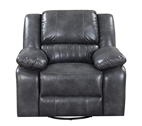 Wood & Style Austin Reclining Charcoal Gray with Swivel Glider Faux Leather Upholstery and Pillow Top Back Decor Comfy Living Furniture Deluxe Premium Collection