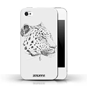 KOBALT? Protective Hard Back Phone Case / Cover for Apple iPhone 4/4S | Leopard Design | Sketch Drawing Collection