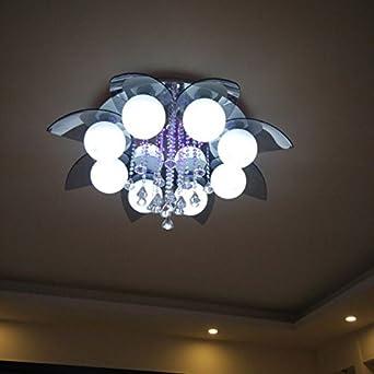Modern Grau Glas Kristall Luxus Wohnzimmer LED Deckenleuchte Arbeitszimmer Lampe Rund Schlafzimmer Leuchten