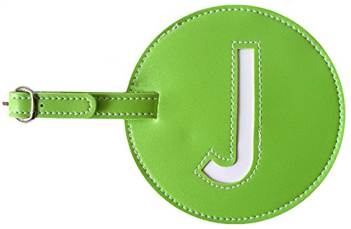 Luggage Tag Initial pb Travel GREEN J (Tags Leather Bag Round)