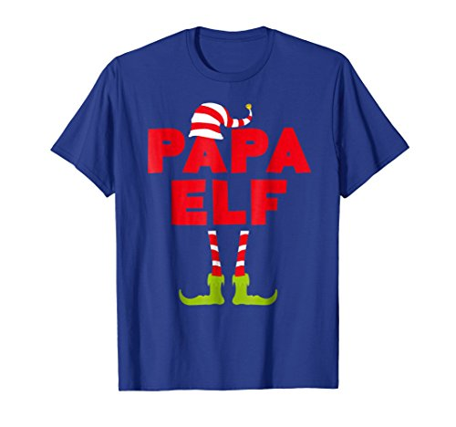 (Mens Papa Elf T-Shirt Funny Matching Christmas Costume Shirt 2XL Royal)