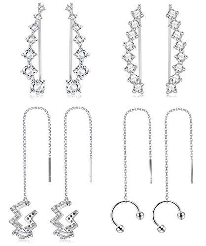 Jstyle 4Pairs Ear Cuffs Earrings Hoop Climber Crawler Earrings for Women Girls Wave Tassel Threader Chain Earring Wrap Cartilage Piercing Earrings Set (Crawler Cuff Earrings)