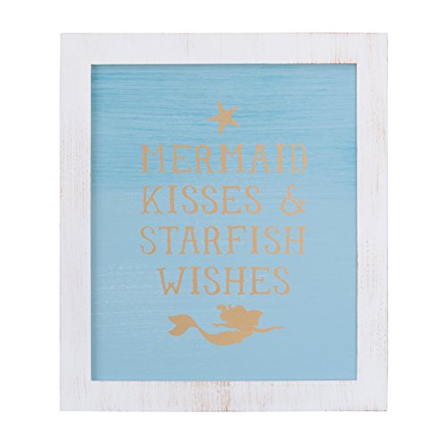 Disney Ariel Sea Princess Framed Wall Art, Blue/White/Gold