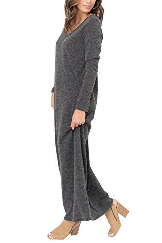 EastLife Womens Dresses Casual V Neck Cotton Plain Long Sleeve Maxi Dress with Pocket