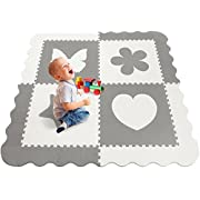 "Sorbus Baby Play Mat with Borders - 59.5'' x 59.5"" Large Kids Floor Foam Puzzle, Soft & Safe Baby Playground, Protective Extra Thick Non-Toxic Crawling Mat, for Infants and Toddlers (Grey & White)"