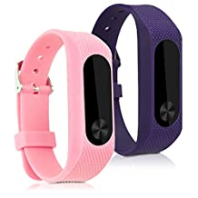 kwmobile 2in1 set: 2x Sport spare bracelet for Xiaomi Mi Band 2 in light pink violet Inner dimensions: approx. 15,5 - 21 cm - silicone bracelet with clock clasp without tracker