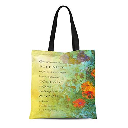 Semtomn Cotton Line Canvas Tote Bag Twelve Serenity Prayer Lilacs and Poppies Step God Peace Reusable Handbag Shoulder Grocery Shopping Bags