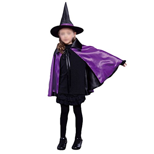 CalorMixs Witch Cosplay Cape & Hat Set Comics Cartoon Dress Up Costume For Kids Toddlers Pretend Play (Medium, (Spider Dress Up Ideas)