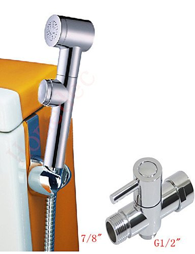 Royal-Bathroom ABS Chrome Hand Held Bidet Toilet Shattaf Kit Sprayer Shower Set G7/8'' Brass T-adapter And Hose by Contemporary Bathroom Sink Faucet
