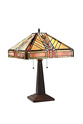 Chloe Lighting CH33422IM16-TL2 Edward Tiffany-Style Mission 2-Light Table Lamp with 16-Inch Shade