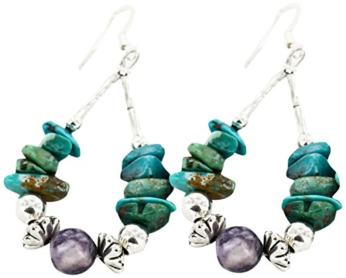 Native-Bay Authentic Made by Charlene Little Navajo Silver Hooks Natural Turquoise and Jasper American Earrings