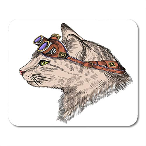 Semtomn Gaming Mouse Pad Cat Portrait Steam Punk with Yellow Eyes and Retro Glasses in Etching Cute Vintage 9.5
