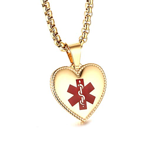 JF.JEWELRY Stainless Steel Heart-Shaped Medical Alert ID Necklace for Women Custom Engraving, 20 inches-Gold ()