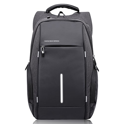 KAKA Laptop Backpack Night Light Reflective Water Resistant and Durable Bag Anti Theft Backpack Shoulders Backpacks for 15.6-inch Laptop in Business School Travel for Men and Women-Black - Proof Classic Oxford
