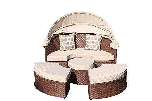 yakoe 50175152x 152x 35cm Papaver Rattan Tag Bett Garten-Möbel Outdoor Liege Patio Sofa Sun Dach + Tisch–braun (1-)