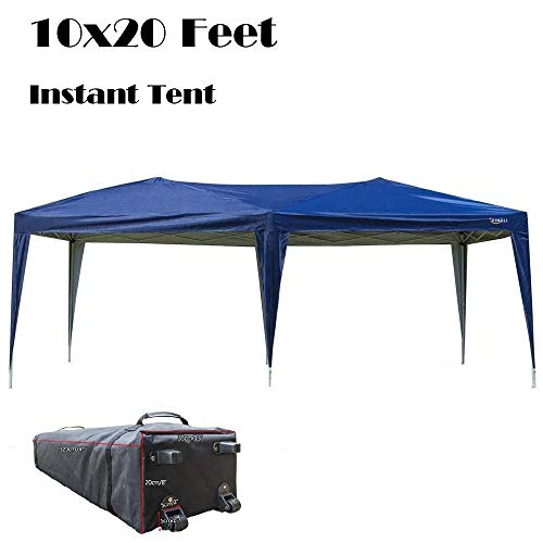VINGLI 10' x 20' Pop up ez Instant Folding Outdoor Canopy Party Wedding Tent, Top Cross-Bar with Upgraded Tube,Waterproof Anti-UV Protection, Wheeled Bag for Carport Gazebo Shed Graduation