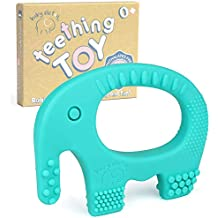 Baby Teething Toys - BPA Free Silicone - Easy to Hold, Soft, Bendable, Highly Effective Elephant Teether, Best for Freezer, Cool Girl Or Boy 3 6 12 Months 1 Year Old Christmas Gifts Stocking Stuffers
